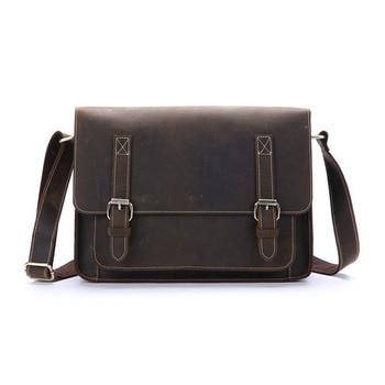 Genuine Leather Messenger Men Business Briefcase 13.3 Inches Laptop Bag Men's Shoulder Handbag Bag Crossbody Large Capacity Tote
