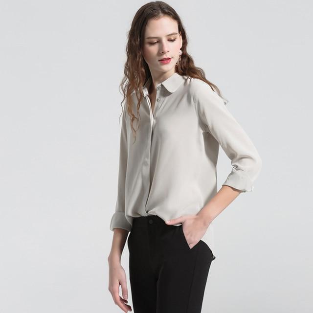 18eaf6f464 100% Mulheres Blusa de Seda Camisa de Tecido Leve de Alta Qualidade Estilo  Simples 2