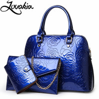 LOVAKIA PU Leather Women Bags Floral Printing Blue 3pcs Set Women Handbags Purse Cultch Composite Messenger bag Leisure Tote Sac