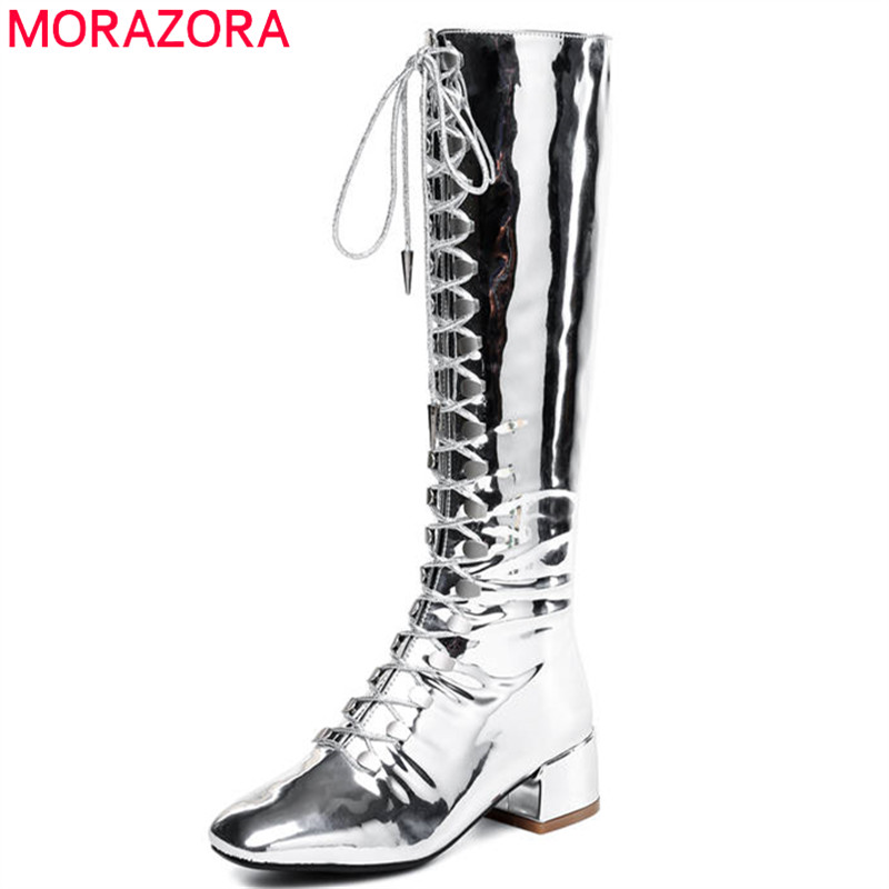 MORAZORA 2020 new style knee high boots women lace up zip punk patent leather lady boots