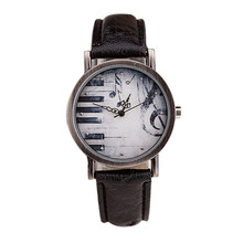 Fashion Watches Men And Women Retro Notes Piano Keys Pattern Dial Leather Watch Female Dress Wristwatch Clock Relogio Masculino