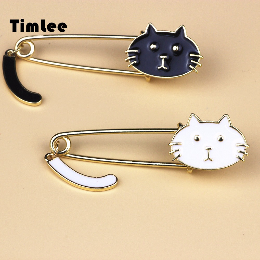 Timlee X007 Envío gratis Cute Black and White Gats Oil Drop Exquisite Broche Pins, joyería de moda al por mayor