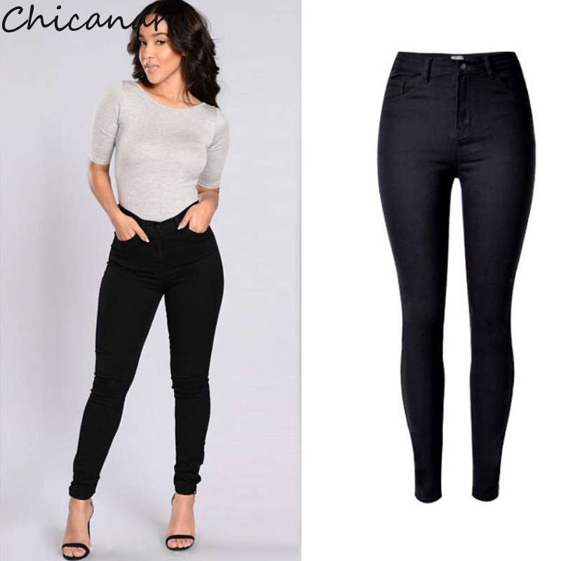 Chicanary Europe Women High Waist Stretchy Denim Jeans Black Solid Skinny Pencil Pants Plus Size New