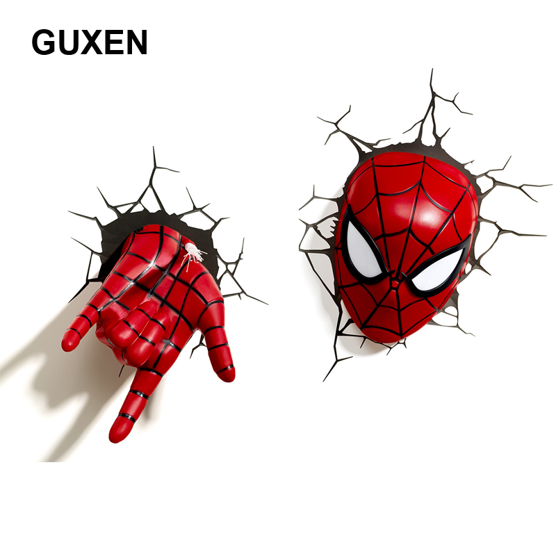 все цены на Guxen 3D Marvel Spider Man Head & Hand Shaped Creative Gifts Cartoon Wall Night Light For Children's decoration luminaires night