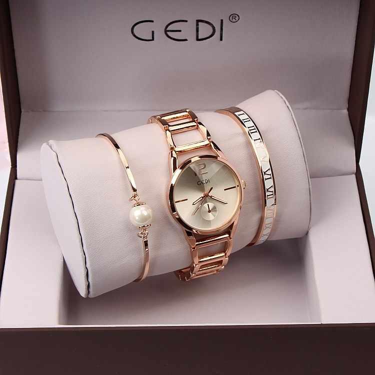 f3c6cd905a3 ... 3PC Set GEDI Brand Women Watches Fashion Party Ladies Watch Creative  Design Bracelet Watch Luxury Relojes ...