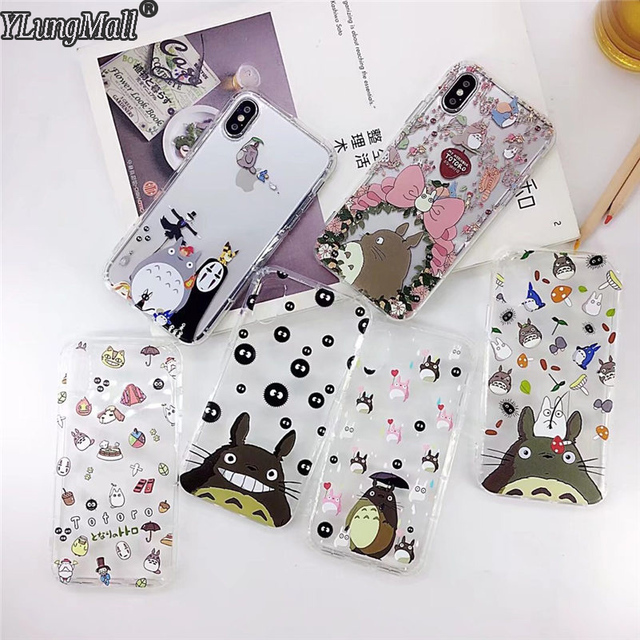 finest selection 32e24 ce956 YLungMall Fundas for iPhone X Case Cute Totoro Shockproof Protect Clear TPU  Soft Silicone Cover for iPhone 7 8 6 6s Plus Coque