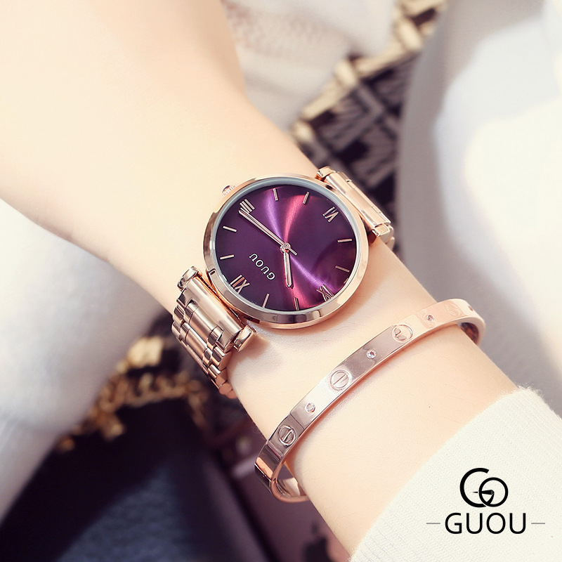 2016 Guou Luxury Brand Fashion Rose Gold Steel Simple Girl Bracelet Watch Women Band Quartz-watch Ladies Wristwatch Reloj Mujer omron hj 005 шагомер