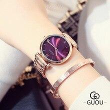 2016 Guou Marca de Moda de Lujo de Oro Rosa de Acero Simple Girl Pulsera Mujeres Del Reloj de Cuarzo de la Venda de reloj de Señoras Reloj de Pulsera Mujer