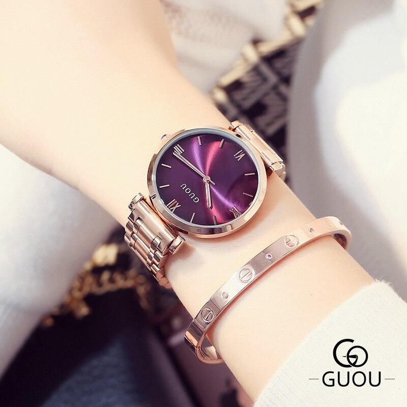 Prix pour 2016 Guou Marque De Luxe Mode Or Rose Acier Simple Fille Bracelet Montre Femmes Bande Quartz-montre Dames Montre-Bracelet Reloj Mujer