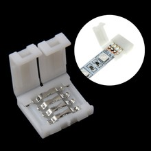 Solderless Clip-on Coupler 4 Pin 10mm For 5050 RGB LED Strip Light High Quality(China)