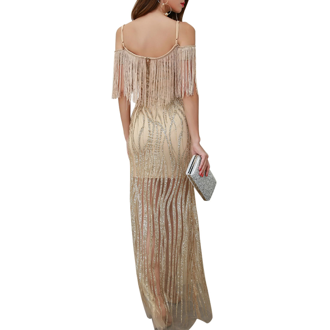 European and American sling sequined sexy halter dress New V neck deep hanging dress dress women 39 s fringed hot diamond dress in Dresses from Women 39 s Clothing