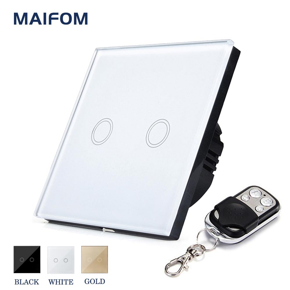 MAIFOM Remote Control Light Switch  EU Standard 2 Gang 1 Way Crystal Glass Panel & LED Indicator Touch Control Wall Switch wall light touch switch 2 gang 2 way wireless remote control power light touch switch white and black crystal glass panel switch