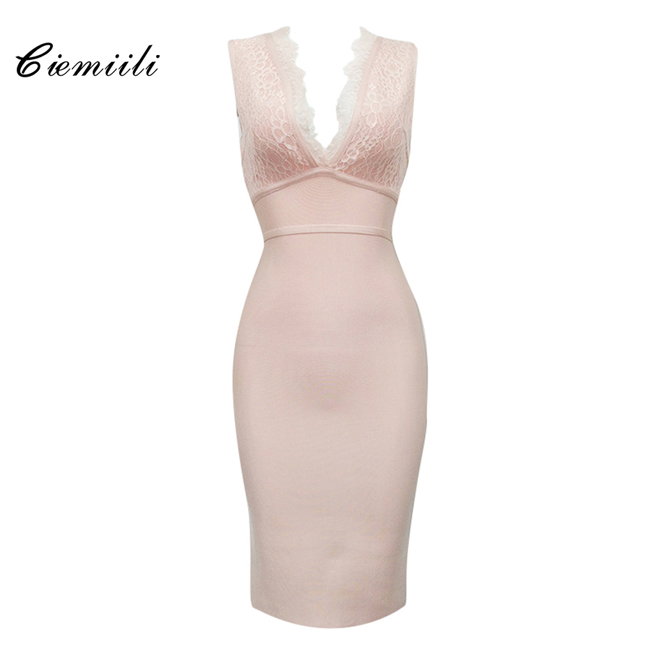 CIEMIILI 2018 Lace Solid Tank Women Dresses Sleeveless Knee Length Pink Black Red White Evening Party