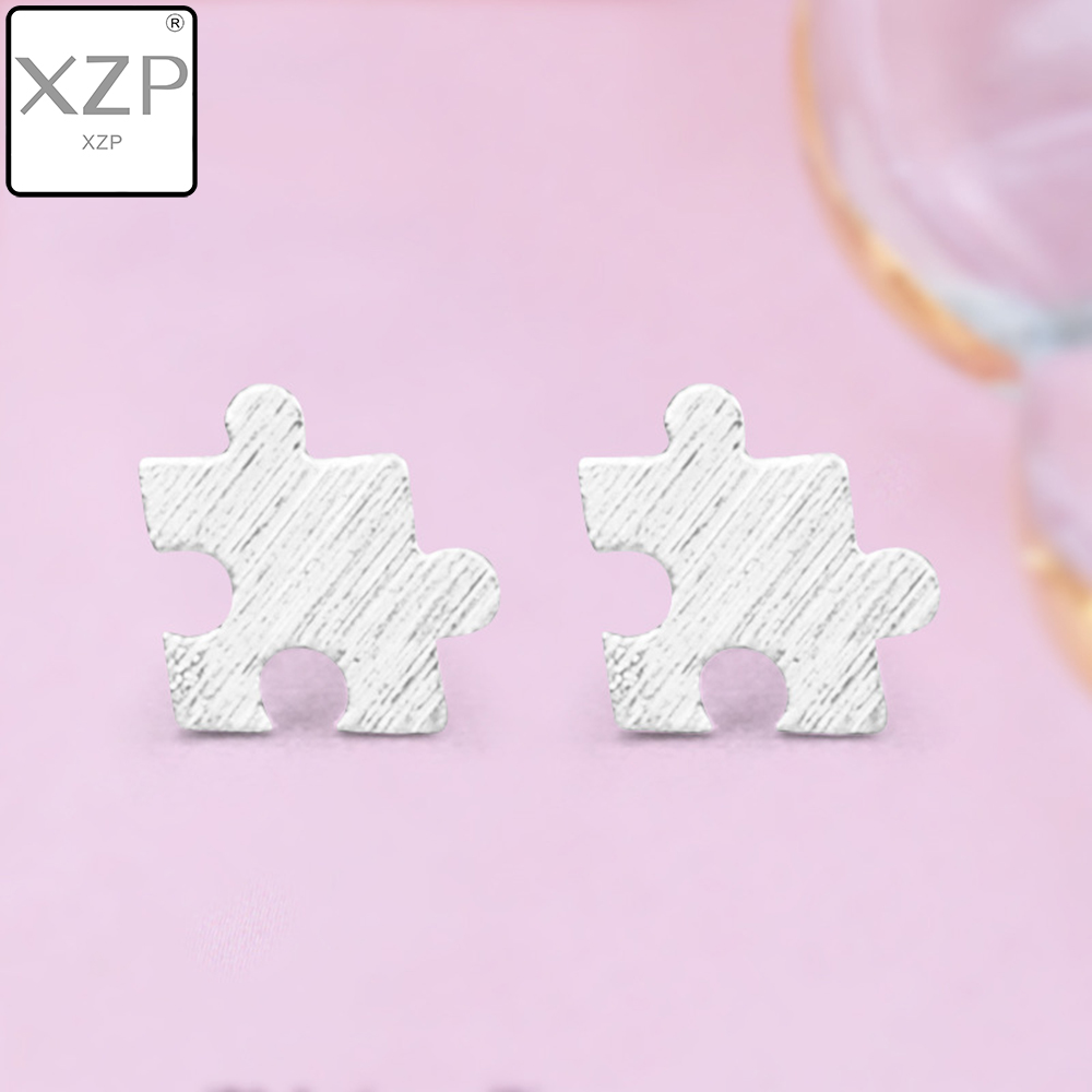 XZP Small Simple Puzzle Stud Earrings Gold Silver Color Fungus Nails Hypoallergenic Earing Fashion Jewelry New Style