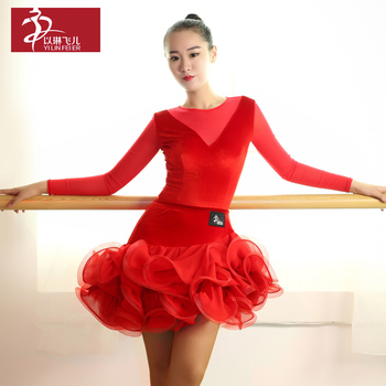 Winter Warm Long Sleeved Velvet Suit GB007+054 GB Latin dance clothing Guo Biao Dance Costume