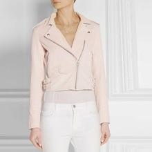 2016 Women New faux leather jacket motorcycle leather jacket Lady coat PU jacket black pink blue 3 color winter coat