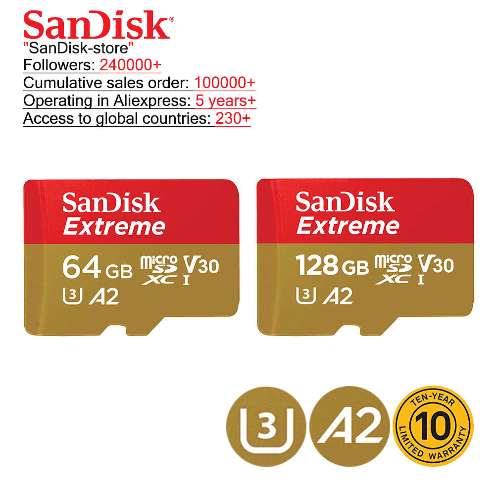 Sandisk 100% Оригинальная карта памяти Microsd карта TF карта класс 10 U1 U3 16 ГБ 32 ГБ 64 Гб 128 ГБ cartao de memoria 10 лет гарантии