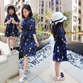2017 summer style mother daughter dresses family look clothing mom and daughter dress chiffon family dress mommy and me clothes