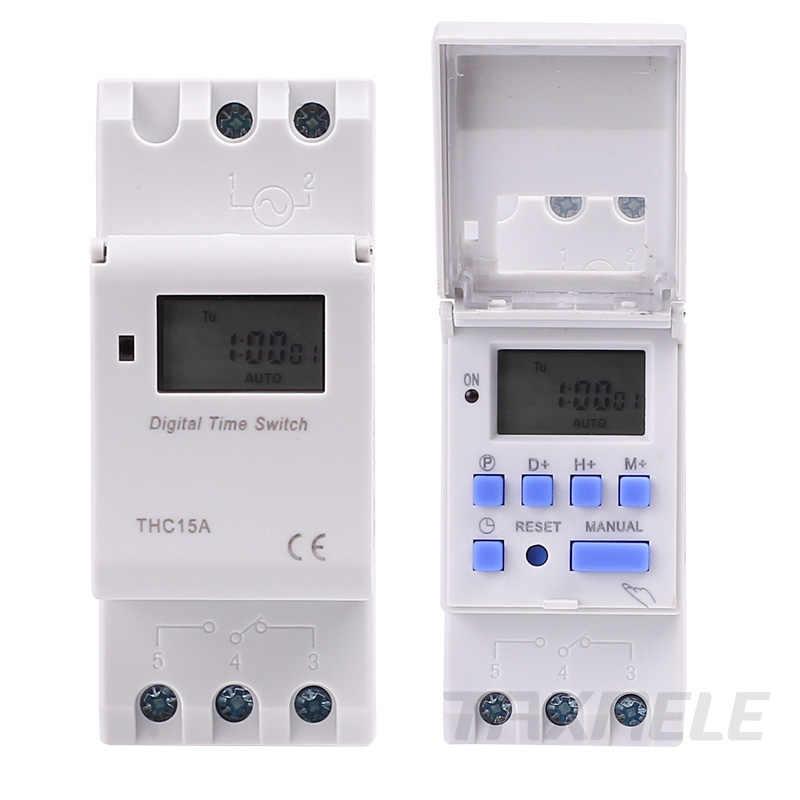 Elektronicznych raz w tygodniu 7 dni programowalny czas cyfrowy przełączniki przekaźnika regulator czasowy AC 220V 230V 12V 24V 48V 16A do montażu na szynie Din THC15A