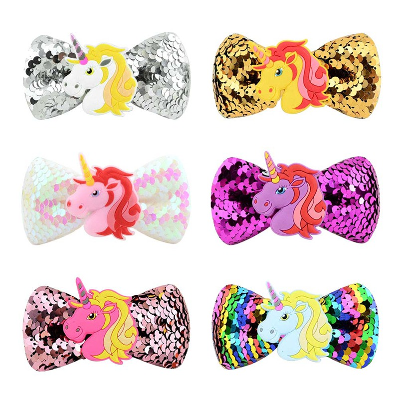 1Pcs Cute Children Hair Clip Hair Accessories Headwear Baby Unicorn Bow Kids Baby Girls Hair Pins Full Cover Clips