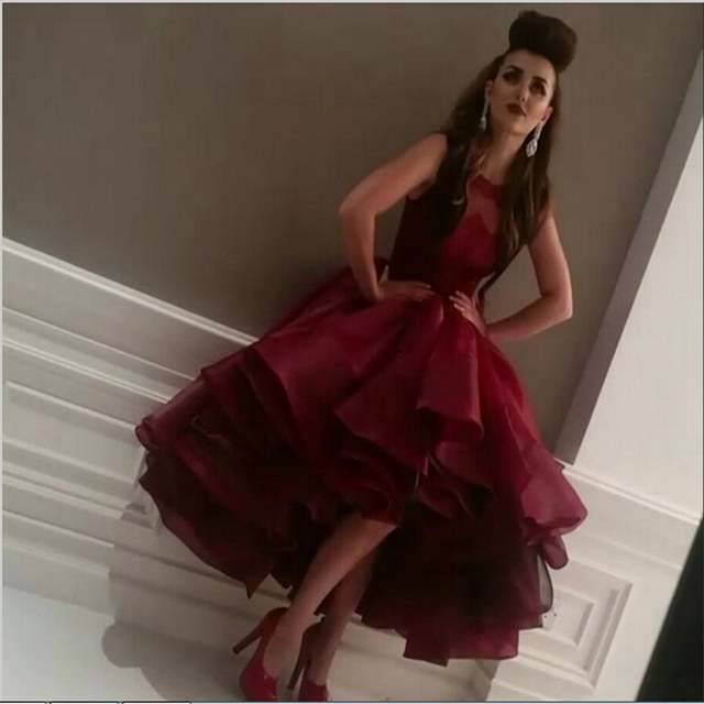 placeholder Amazing Awesome 2018 Ball Hi Lo Gown Ruffles Organza Multi  Layer Evening dress Wine Red Formal 8caaab95ac1d