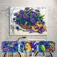 New special shape diamond painting cartoon violet flower pattern DIY 5D part cross stitch kit crystal craft love gift