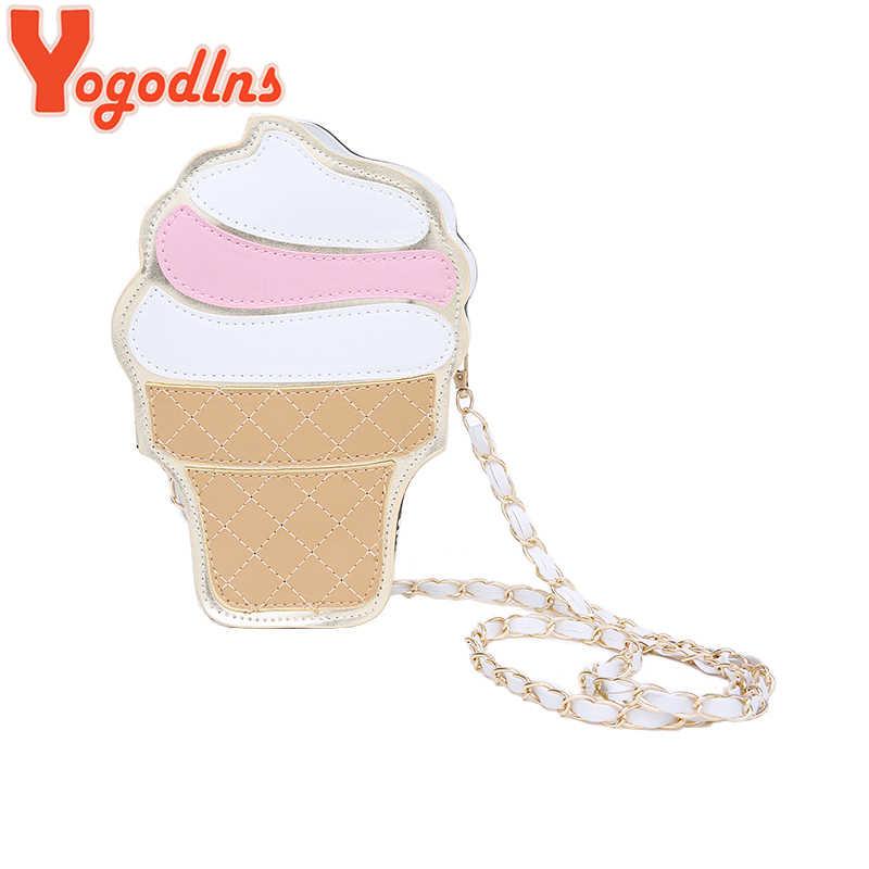 Yogodlns Neue Nette Cartoon Frauen eis Cupcake Mini Taschen PU Leder Kleine Kette Mädchen Umhängetaschen Shopping Messenger tasche