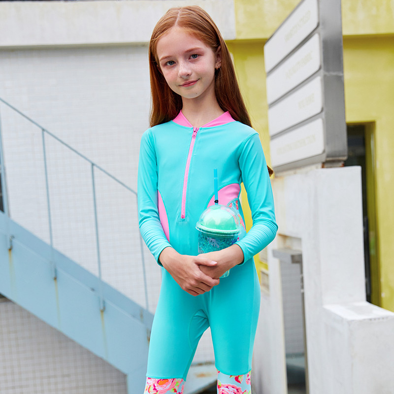 Baby Girl Long Sleeve One Piece Swimsuit Sunproof Print Children Surfing Wetsuit Girls Swimwear Bodysuit + Cap Kids Bathing Suit(China)