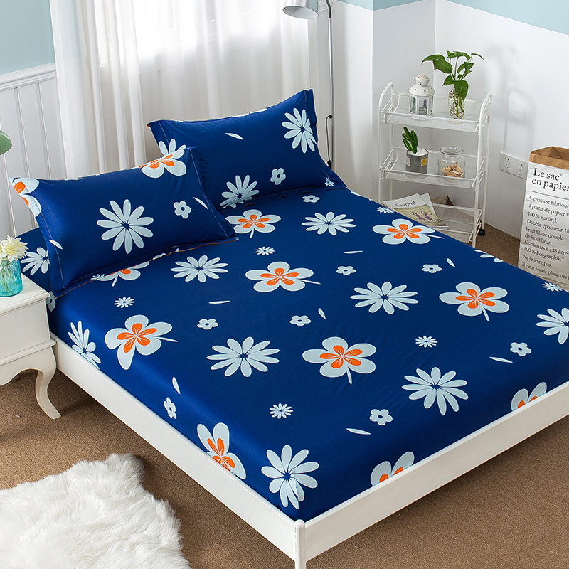 100% Cotton Simple And Generous Dark Blue Dream Flower Flower Pattern Fitted Sheet Bed Linen Home Textiles Bed Linen Bed Cover