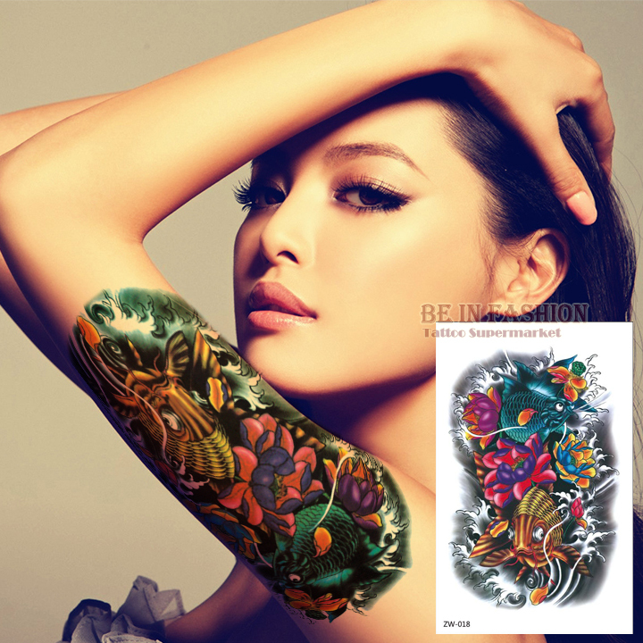 Color Fish Tattoo Stickers Flower Arm Tattoos Waterproof Temporary Tatoo fake for women Men