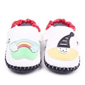 High Quality PU And TPR Sole Beautiful Cartoon Pattern Hand-Stitched Hook&Loop Soft Leather Prewalker Baby Boy And Girl Shoes