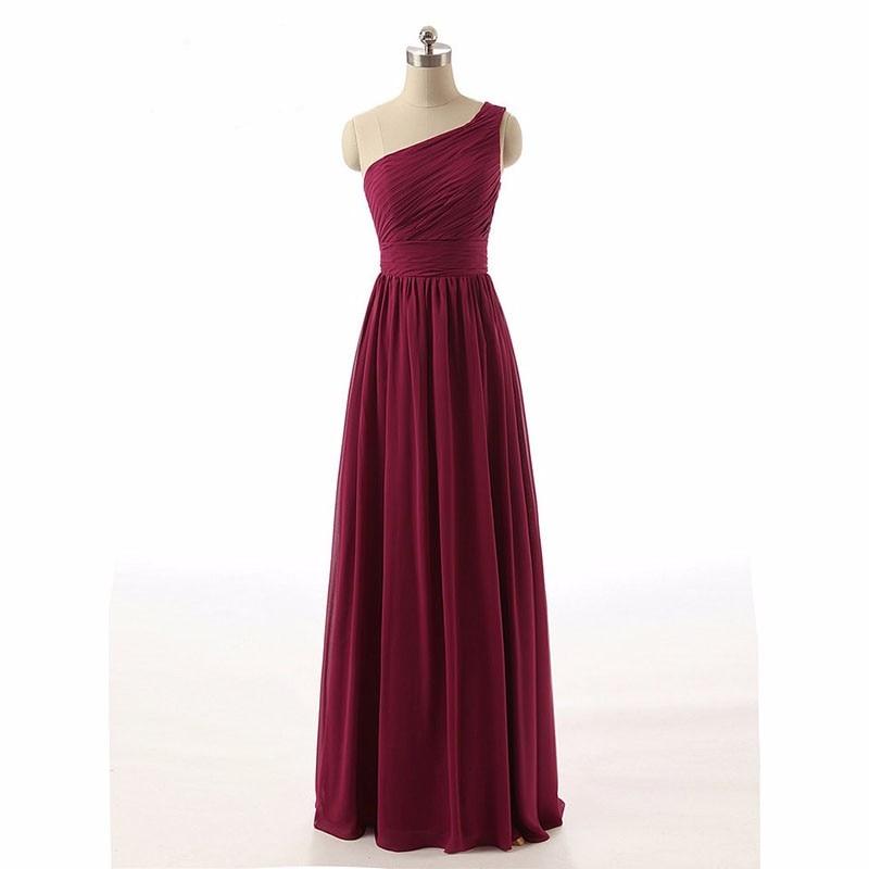Real One Shoulder Ruched Burgundy Bridesmaid Dresses