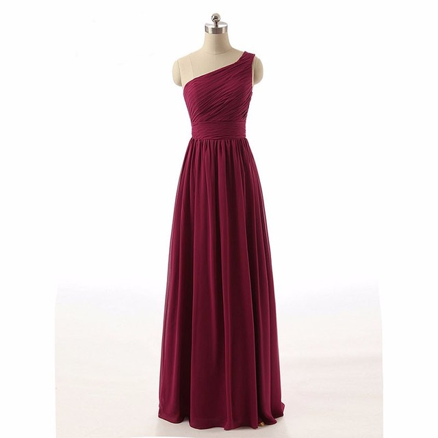Real One Shoulder Ruched Burgundy Bridesmaid Dresses Chiffon Long Dress 2017 Robe Demoie D