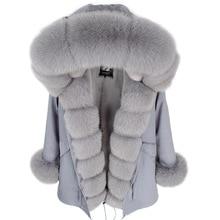 2019 ファッション winterwarm ジャケット女性リアルファーコートナチュラルリアルフォックスファーの襟ルーズロングパーカービッグ毛皮の上着着脱式