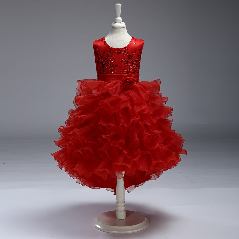 Red 2019   Flower     Girl     Dress   for Weddings First Holy Communion   Dress   For Baby Little   Girl   Prom   Dress   Tulle Pageant Gown