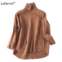 Lafarvie Turtleneck Knitted Pullover Sweater Women Pocket Loose Soft Jumper Autumn Winter 2017 Warm Knitting Cashmere