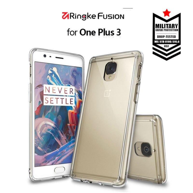 Цена за Ringke Fusion для oneplus 3 случай Прозрачный поликарбонатный задняя и мягкой рамы Hybrid для oneplus 3 т случае