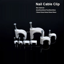 100pcs/lot Steel Nail Circle Clip Fix CAT5/CAT5E Network Wire/USB Printer Cable 6mm cable clips Wall Insert Cord Clamp