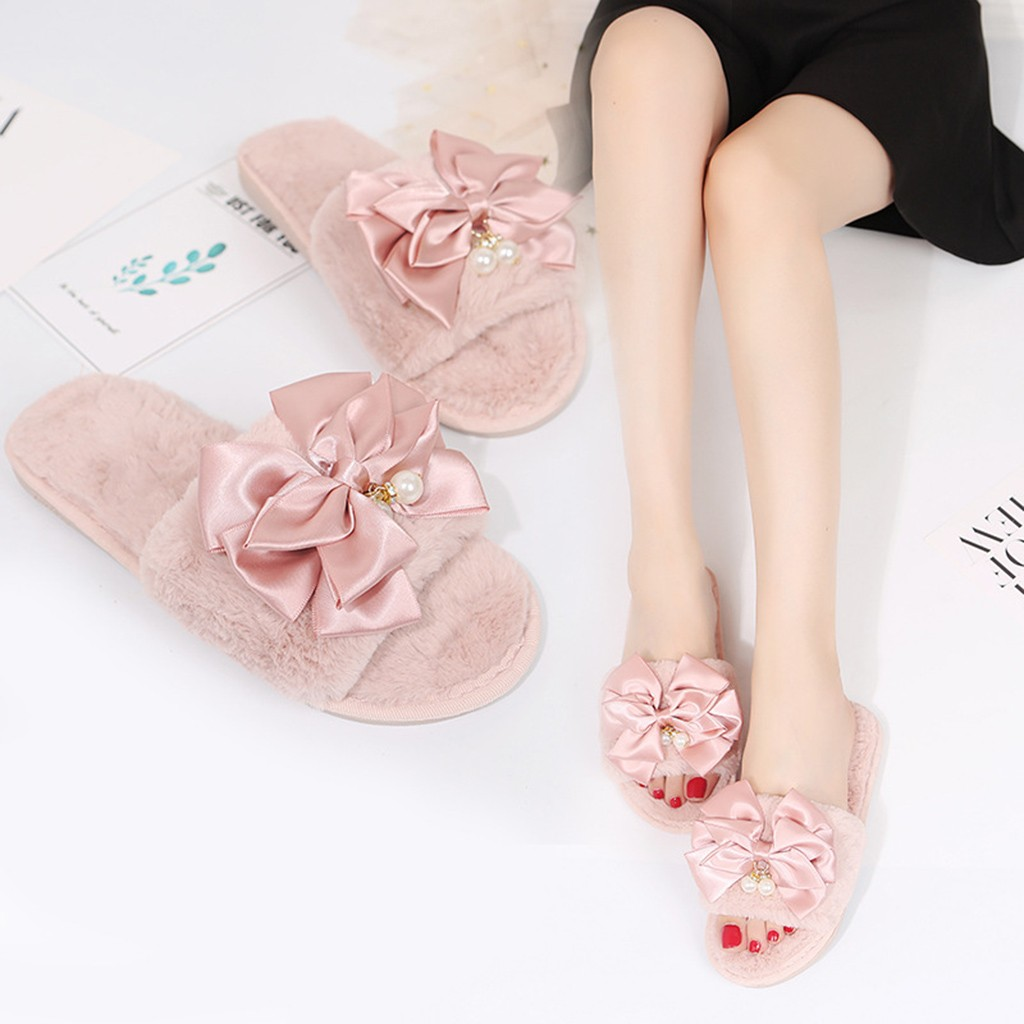 Slippers Women Warm Solid Bow Knot Beaded pendant Plush Slippers with Faux Fur Casual Woman Slip on Flats Female Size 36-41
