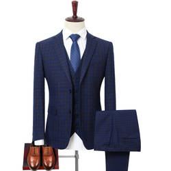 Плюс размер 4XL 5XL 6XL 7XL 8XL 9XL мужской костюм из трех предметов деловой Повседневный клетчатый свободный костюм + жилет + брюки брендовая одежда