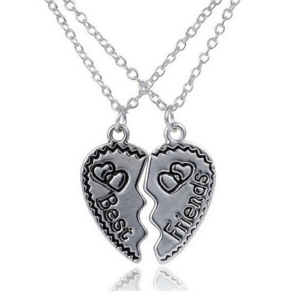 17e1cefc5708 2 de París de La Vendimia de Metal Colgante de Corazón Roto Pareja  Gargantilla Chian Collares