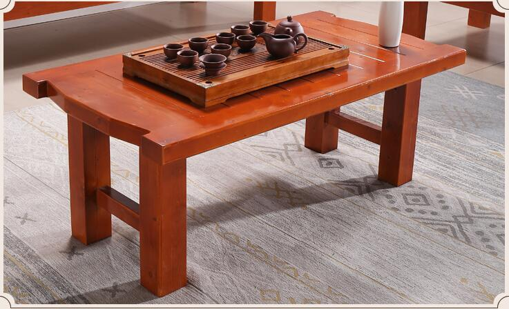 Antique Low Table Kongfu Tea Table Wooden Rectangle 130cm Asian Furniture Traditional Living Room Solid Wood Table Legs Foldable