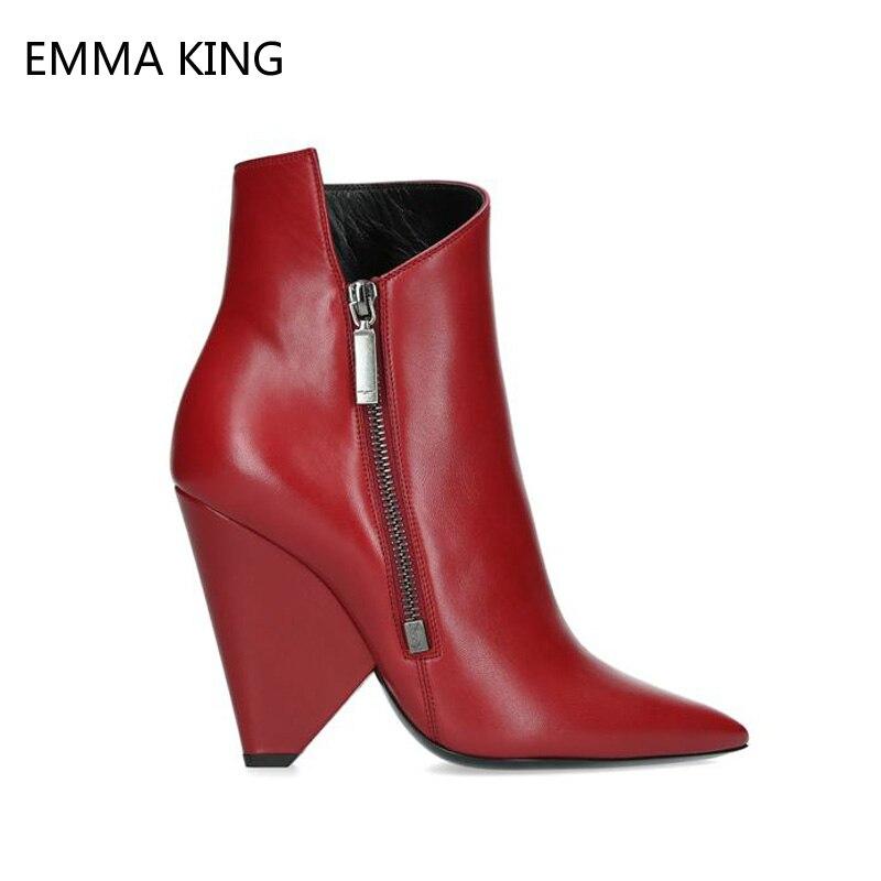 Модные красные женские ботильоны «Челси»; Теплые Ботинки Martin на высоком каблуке; женские туфли лодочки для вечеринки и свадьбы; классически...