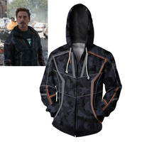 Avengers Infinity War Iron Man Cosplay Costume Hoodie Tony Stark Jacket Sweatshirt Coat S 3XL