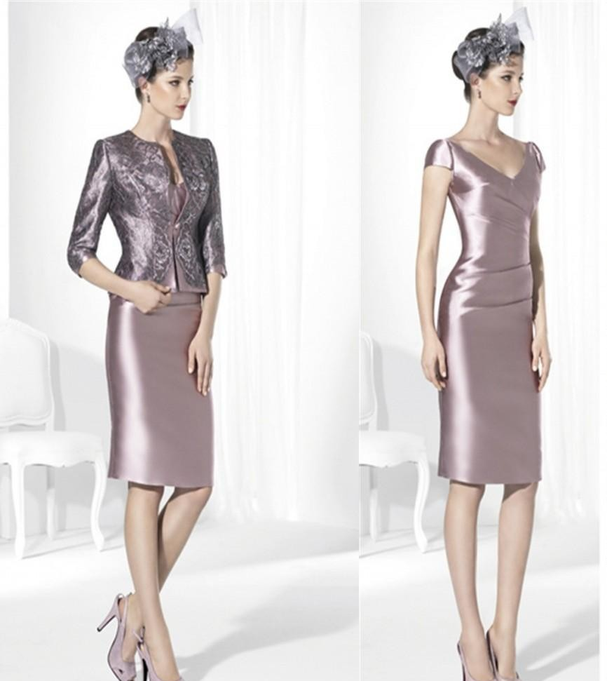 Элегантное платье-футляр с v-образным вырезом для матери невесты, костюм с жакетом, модные вечерние платья длиной до колена с аппликацией из бисера