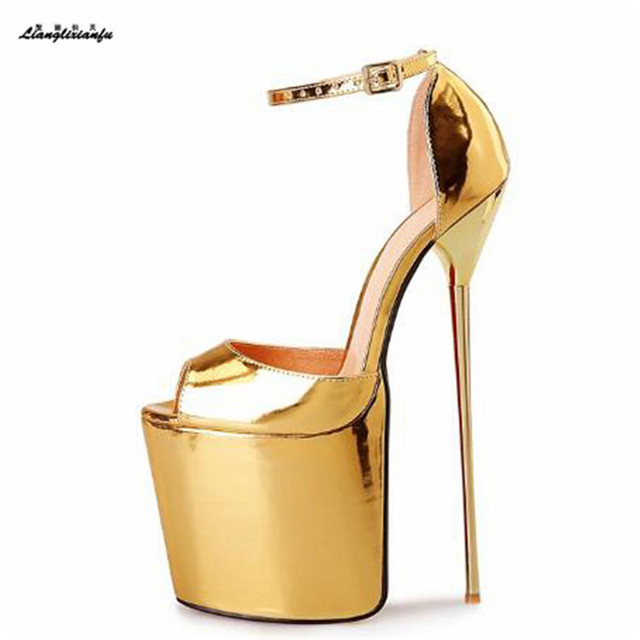 LLXF Summer platform zapatos Plus:46 47 48 Stiletto Gold Peep Toe Sandals dress Shoes women 22cm thin High-Heeled female Pumps