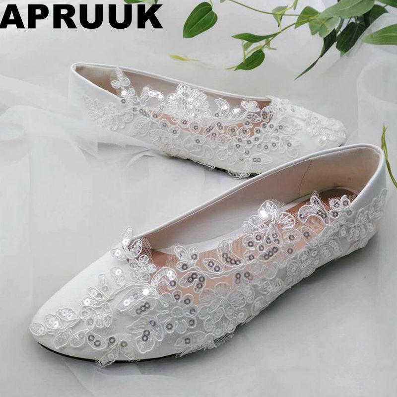 2018 fashion sexy flat heel lace shoes woman round toes slip on silver bling sequins wedding shoes bridal lace flats plus size