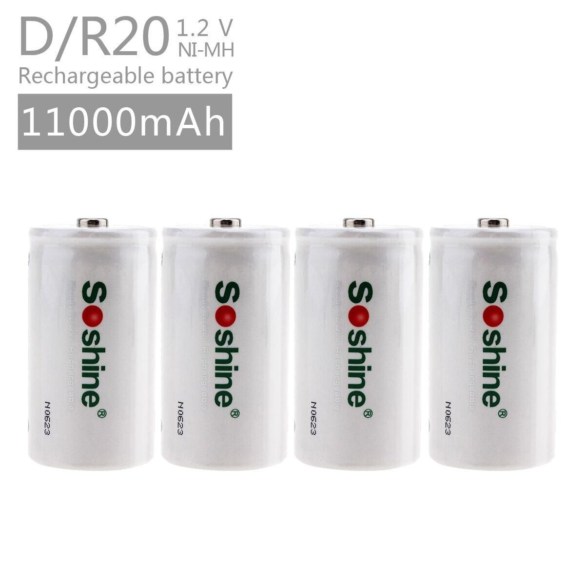 Soshine 4 unids/set D/R20 tamaño baterías recargables NiMH 11000 mAh batería con mayor capacidad actual