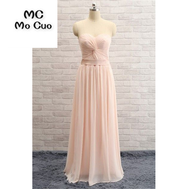 Real 2018 Simple Bridesmaid Dresses Long Sweetheart Pleat Draped Lace Up Back Wedding Guest Party Dress Formal Bridesmaid Dress