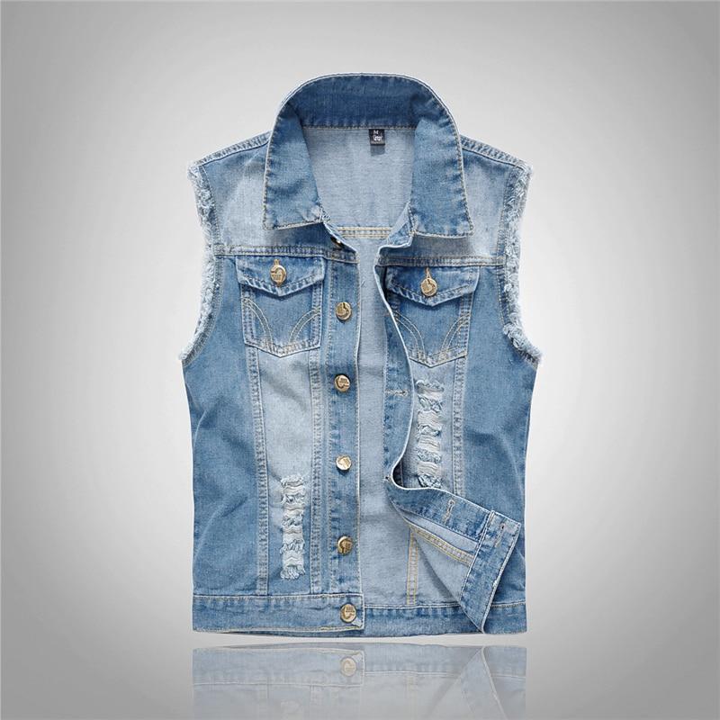 2019 Men's high-grade brand Denim Vest cotton Casual Jacket Sleeveless Waistcoat 80s Jean top Coat Ripped Male Cowboy Jacket